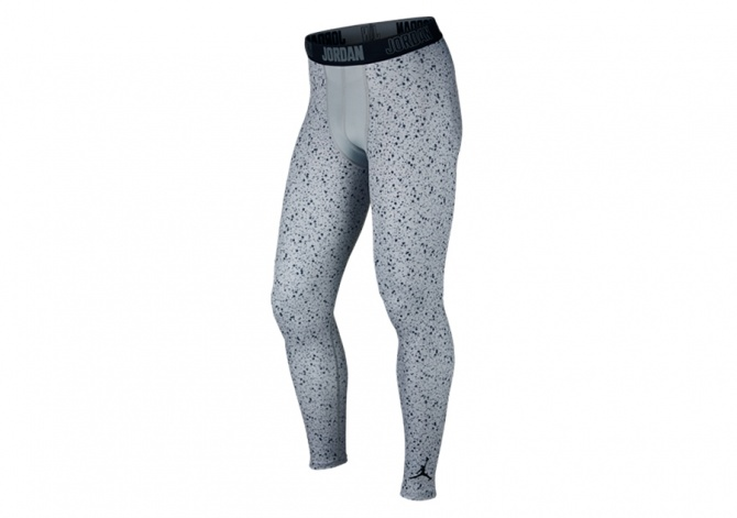 NIKE AIR JORDAN ALL SEASON COMPRESSION CEMENT TIGHTS WOLF GREY BLACK