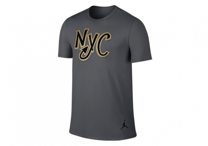 NIKE AJ 10 NY CITY TEE DARK GREY/BLACK