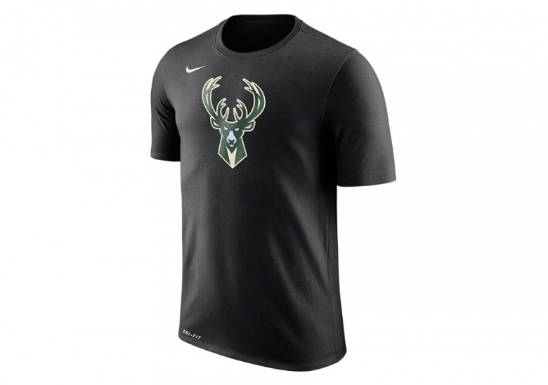 NIKE NBA MILWAUKEE BUCKS DRY TEE LOGO BLACK