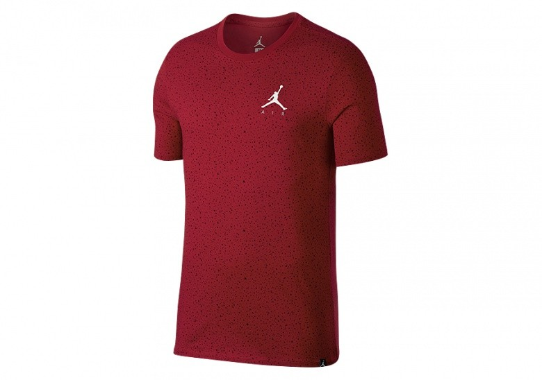 NIKE AIR JORDAN SPORTSWEAR SPECKLE ALLOVER PRINT TEE GYM RED