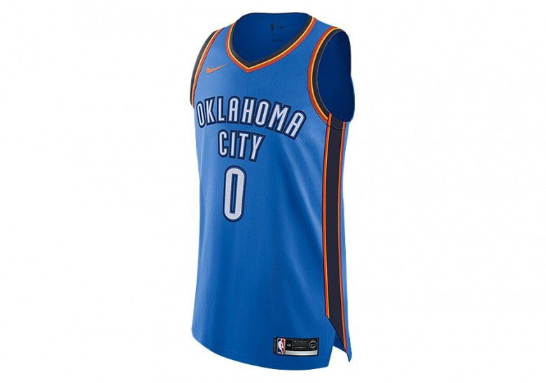 a51b4f467d6 NIKE NBA CONNECTED OKLAHOMA CITY THUNDER RUSSELL WESTBROOK AUTHENTIC JERSEY  ROAD SIGNAL BLUE