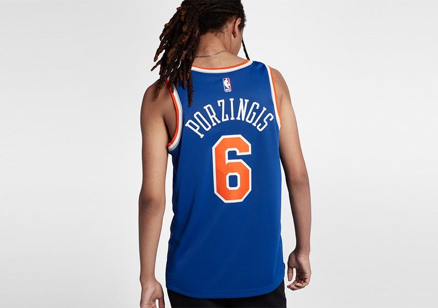 66b1730d87f12 NIKE NBA NEW YORK KNICKS KRISTAPS PORZINGIS ROAD SWINGMAN JERSEY RUSH BLUE