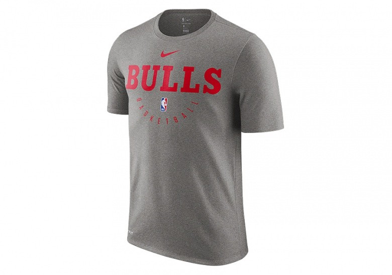 NIKE NBA CHICAGO BULLS DRY TEE DARK GREY HEATHER