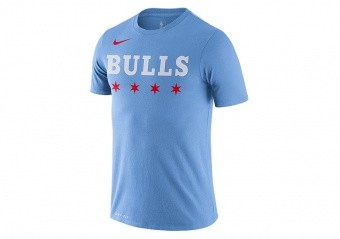 NIKE NBA CHICAGO BULLS CITY EDITION LOGO DRI-FIT TEE VALOR BLUE