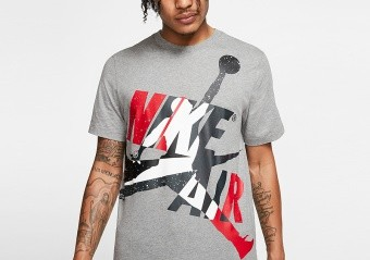 NIKE AIR JORDAN JUMPMAN CLASSICS CREW TEE CARBON HEATHER