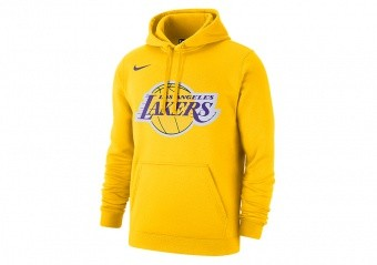 NIKE NBA LOS ANGELES LAKERS LOGO FLEECE HOODIE AMARILLO