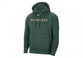 NIKE NBA MILWAUKEE BUCKS COURTSIDE PULLOVER HOODIE FIR