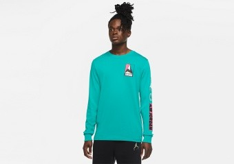 NIKE AIR JORDAN WINTER UTILITY MOUNTAINSIDE LONG-SLEEVE CREW TEE NEPTUNE GREEN