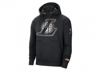 NIKE NBA LOS ANGELES LAKERS COURTSIDE CHROME PULLOVER HOODIE BLACK