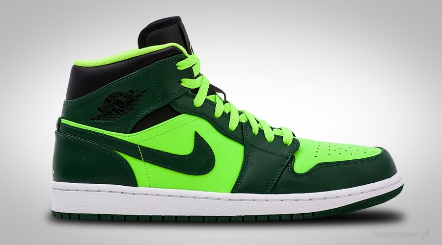 NIKE AIR JORDAN 1 RETRO MID GORGE GREEN ELECTRIC GREEN