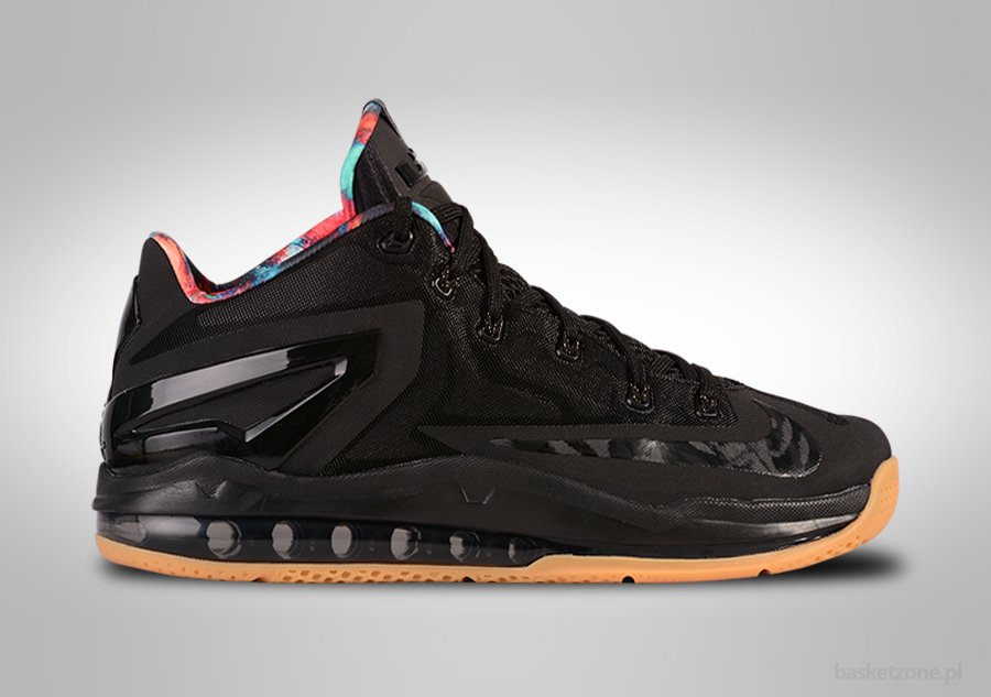 NIKE LEBRON XI LOW BLACK GUM HYPER CRIMSON