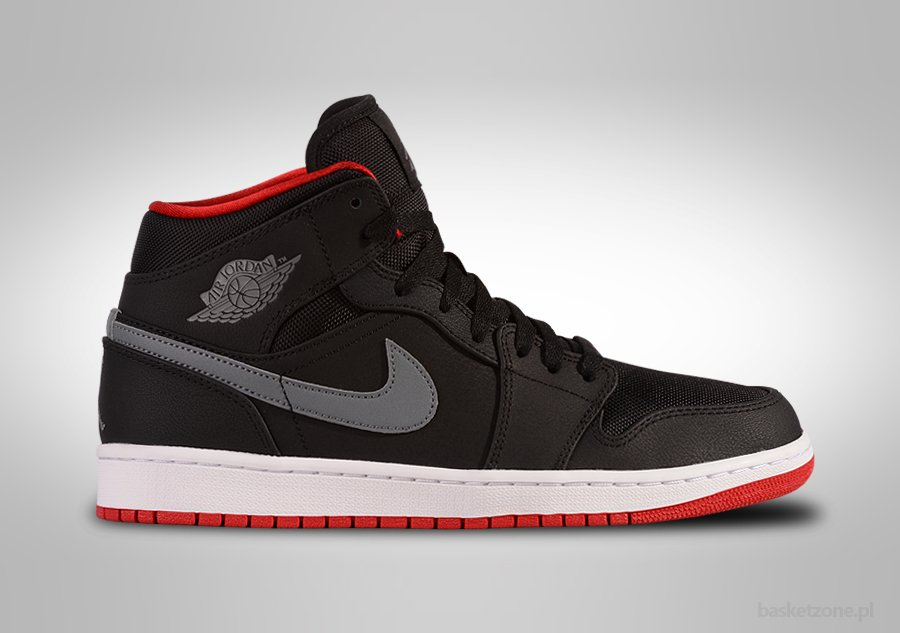 NIKE AIR JORDAN 1 RETRO MID BLACK COOL GREY GYM RED
